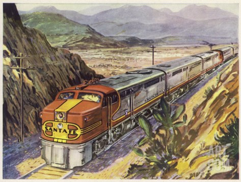 Train of the Santa Fe Railroad Drawn by a Diesel- Electric Locomotive Stretched Canvas Print