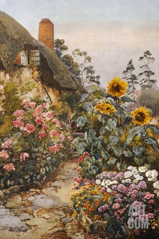 Anne Hathaway's Cottage and Garden. Packed Herbaceous Borders Lead up to the Cottage Stretched Canvas Print