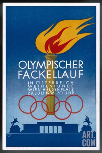 Postcard to Commemorate the Carrying of the Olympic Torch Through Vienna Stretched Canvas Print
