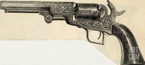 Colt's Revolving Pistol Stretched Canvas Print
