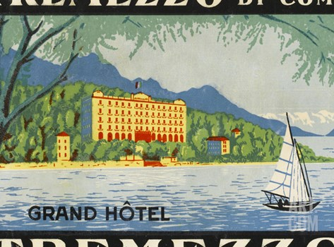 The Label for the Grand Hotel at Tremezzo on Lake Como Stretched Canvas Print