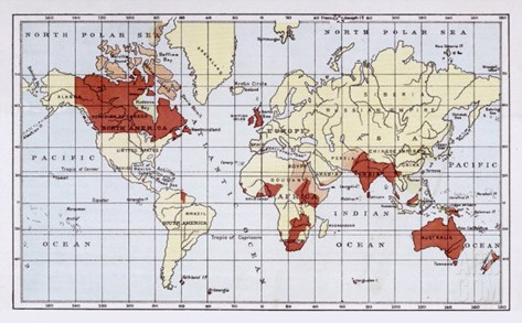 Map Showing the British Empire Coloured in Red Stretched Canvas Print