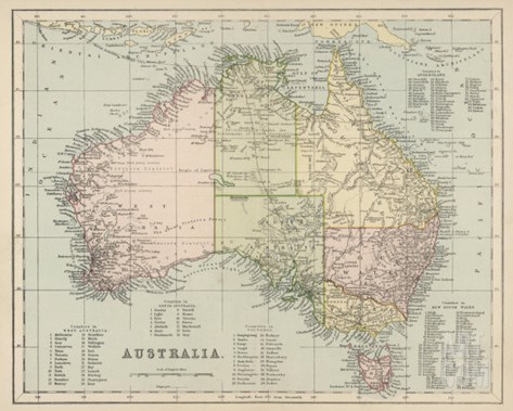 Map of Australia with Names of Counties Stretched Canvas Print