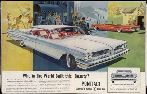 Vista-Lounge Interiors with Seats Wider Than a Sofa, in the New Wide-Track Pontiac Stretched Canvas Print