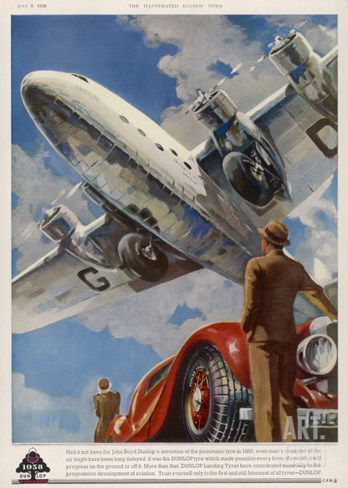"An Armstrong Whitworth ""Ensign"" of Imperial Airways Takes Off Stretched Canvas Print"