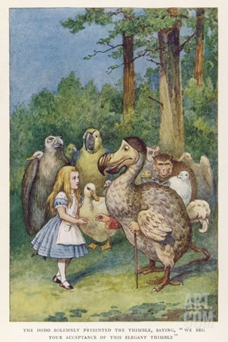"""The Dodo Solemnly Presented the Thimble Saying """"We Beg Your Acceptance of This Elegant Thimble"""" Stretched Canvas Print"""