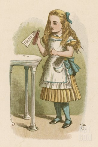 "Alice Holds the Bottle Which Says ""Drink Me"" on the Label Stretched Canvas Print"
