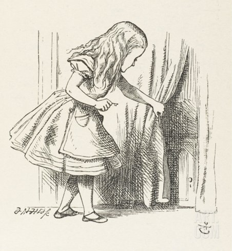 Alice Alice Draws Back the Curtain to Reveal a Little Door Stretched Canvas Print