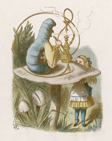 Alice and the Caterpillar Stretched Canvas Print