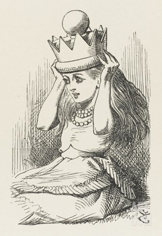 Alice Crowned as Queen Alice Puts on the Crown Stretched Canvas Print