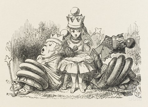 Alice with the Sleeping Queens Stretched Canvas Print