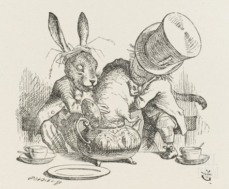 The Hatter's Mad Tea Party the Hatter and the Hare Put the Dormouse in the Tea-Pot Stretched Canvas Print