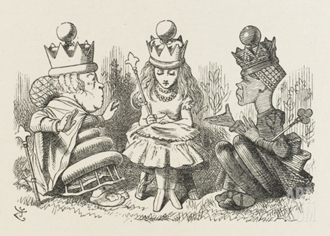 Two Queens Alice with the Two Queens Stretched Canvas Print