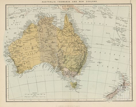 Map Showing Australia Tasmania New Zealand and Neighbouring Islands Stretched Canvas Print