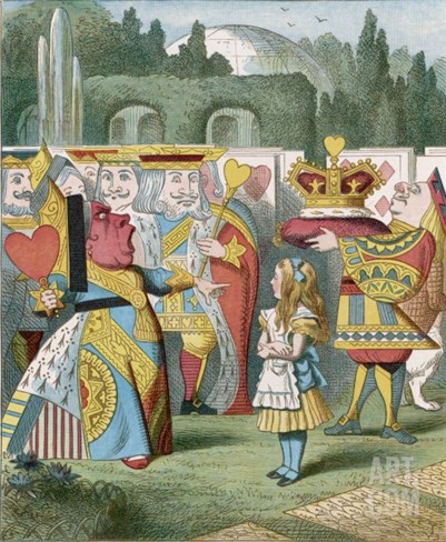 "Alice and the Queen of Hearts: ""Off with Her Head!"" Stretched Canvas Print"