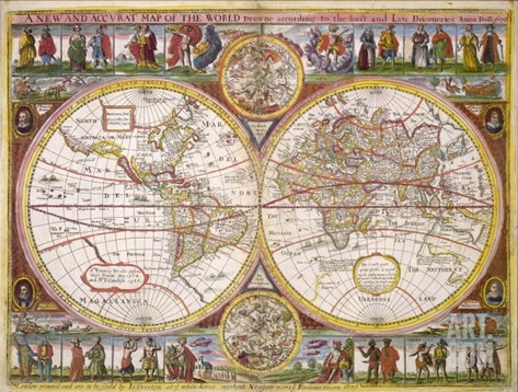 New and Accurate Map of the World Drawn According to the Best and Late Discoveries of 1670 Stretched Canvas Print