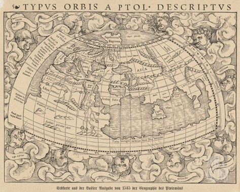 1545 Map from Basel Switzerland Depicting the World as Known to Ptolemy in the 2nd Century Stretched Canvas Print