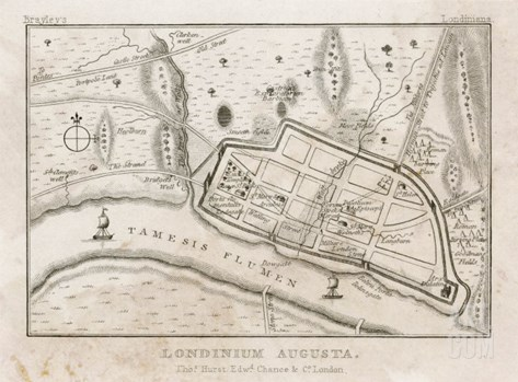 Map Showing Roman London (Londinium) with Its Grid of Straight Roads Stretched Canvas Print