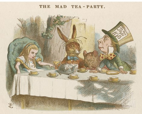 Alice at the Mad Hatter's Tea Party Stretched Canvas Print