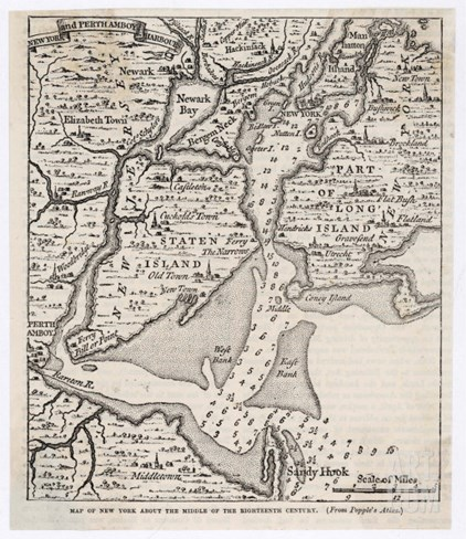Map of New York from the Middle of the Eighteenth Century Stretched Canvas Print