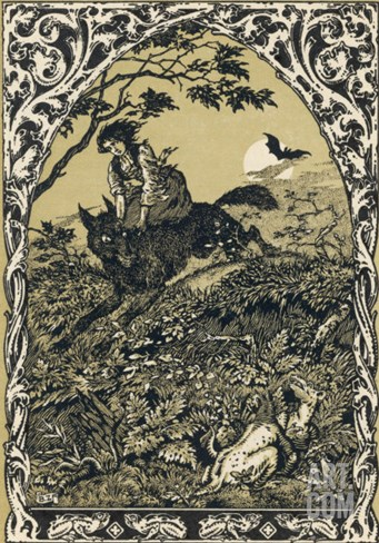 Wolf Carries Young Guillemette to Meet Its Master Satan: in the Forest It Becomes an Old Hag Stretched Canvas Print