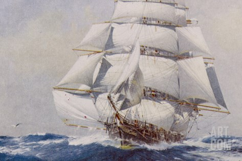 Clipper Under Full Sail Stretched Canvas Print