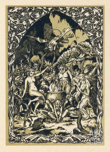 Guillemette Babin at the Sabbat Dances with Demons Performing with Them Acts Stretched Canvas Print