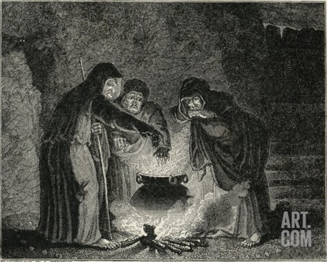 Macbeth, Act IV Scene I: The Witches in Their Cavern Gathered Around the Boiling Cauldron Stretched Canvas Print