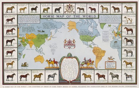 Horse Map of the World Showing Different Breeds Stretched Canvas Print