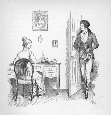 Mr. Darcy Enters a Room in Which Elizabeth Bennet is Seated at Her Writing Desk Stretched Canvas Print