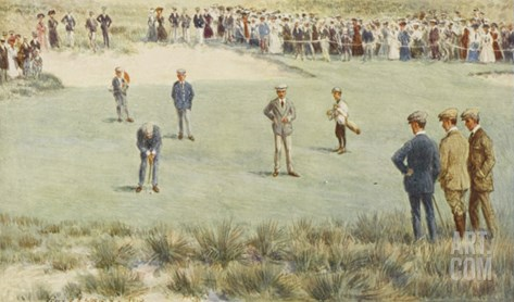 Tense Moment During a Championship Match at the Royal Sydney Golf Club Links Australia Stretched Canvas Print