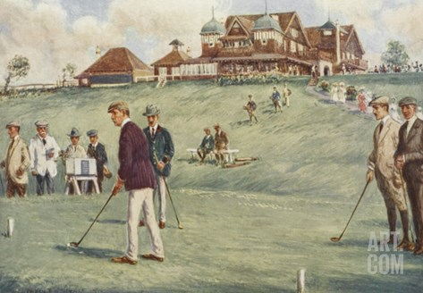 Golfers Golfing at the Royal Sydney Golf Club Links Stretched Canvas Print
