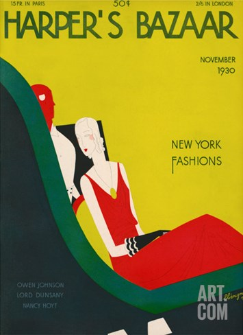 Harper's Bazaar, November 1930 Stretched Canvas Print