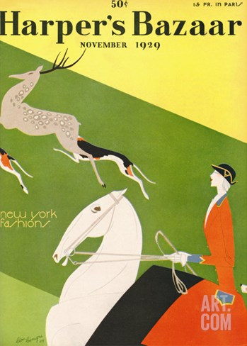 Harper's Bazaar, November 1929 Stretched Canvas Print