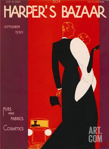 Harper's Bazaar, September 1930 Stretched Canvas Print