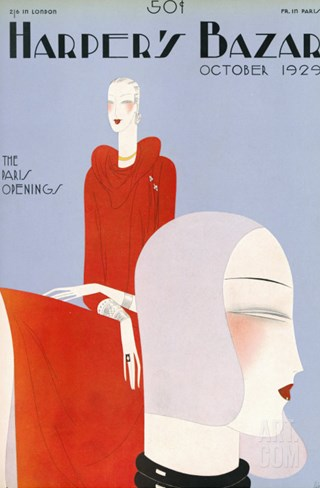 Harper's Bazaar, October 1929 Stretched Canvas Print