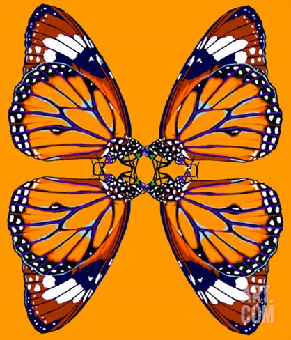 4 monarch butterflies in orange Stretched Canvas Print