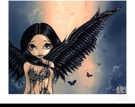 Black Winged Angel (Gothic Angel Fairy) Stretched Canvas Print