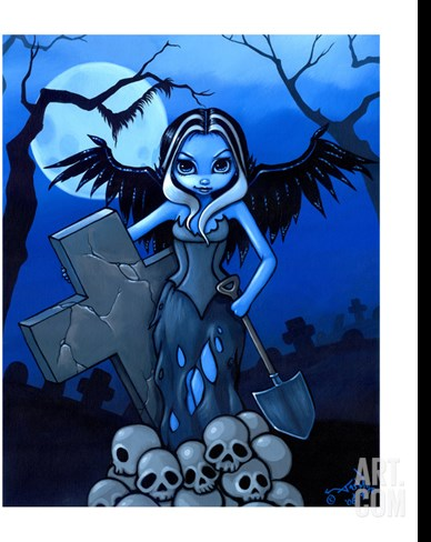 Gravedigger - a Gothic Angel Stretched Canvas Print