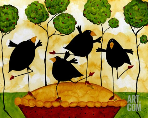 Blackbird Pie Stretched Canvas Print