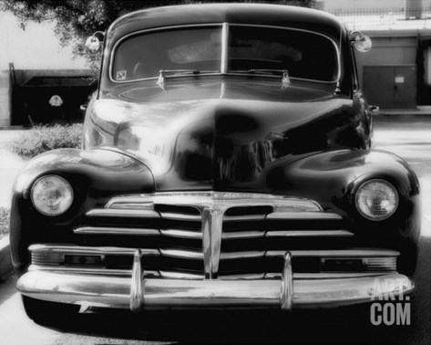 Vintage Chevrolet In Black And White Stretched Canvas Print