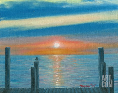 Sunrise from the Dock Stretched Canvas Print