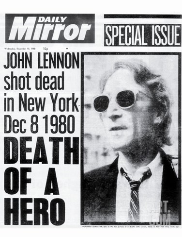 Death of a Hero, John Lennon Shot Dead in New York Dec 8 1980 Stretched Canvas Print