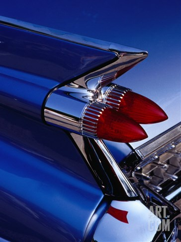 Detail of An American Cadillac, Eze, France Stretched Canvas Print