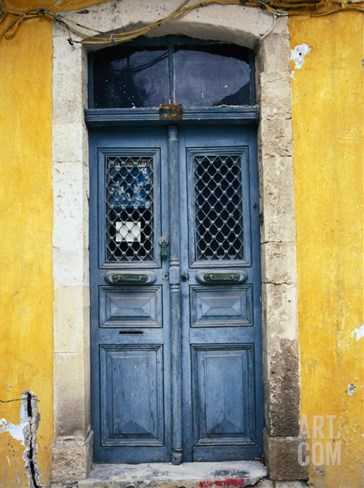 Doorway in Old Venetian Quarter, Hania, Crete, Greece Stretched Canvas Print