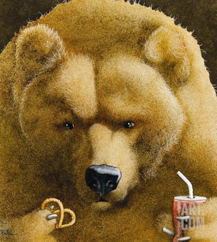 Pretzels & Soda & Bear Stretched Canvas Print