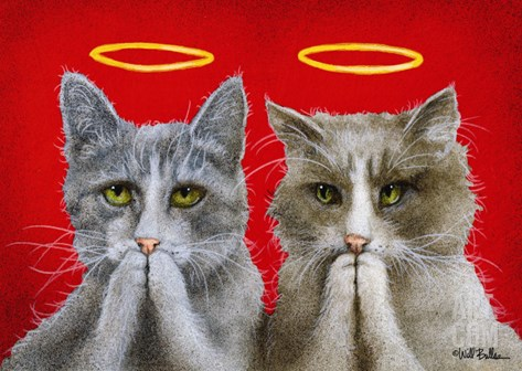 Holy Cats Stretched Canvas Print