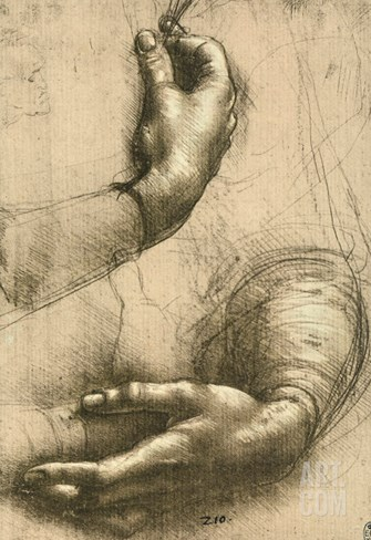 Study of Female Hands, Drawing, Royal Library, Windsor Stretched Canvas Print