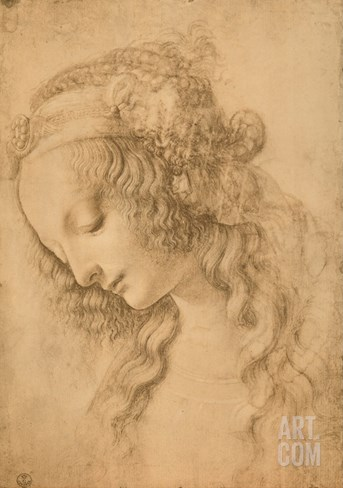 Study for the Face of the Virgin Mary of the Annunciation Now in the Louvre Stretched Canvas Print