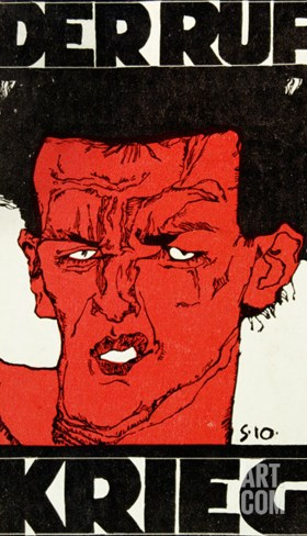 Envelope (Using a Self-Portrait by Egon Schiele of 1910) of the Magazine 'Der Ruf' Stretched Canvas Print